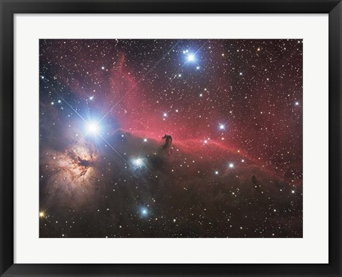 Framed Horsehead Nebula and Flame Nebula in Orion Print