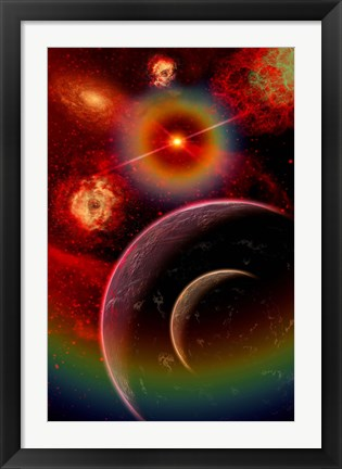 Framed alien planet and it's moon illuminated by the glow of Nebula gas clouds Print