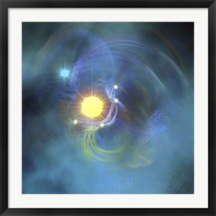 Framed large sun is veiled by surrounding Nebular clouds Print
