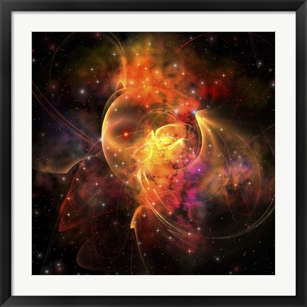 Framed emission Nebula out in space forming stars and galaxies Print