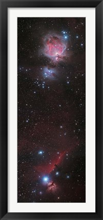 Framed Mosaic of Orion Nebula and Horsehead Nebula Print