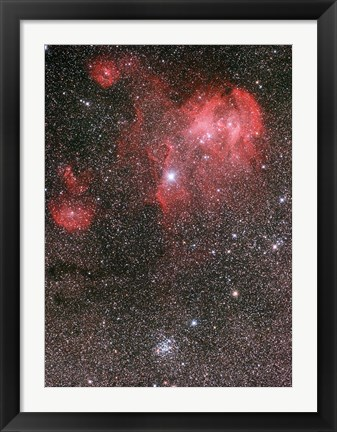 Framed Bat Nebula (IC 2948) and open star cluster NGC 3766, the Pearl Cluster Print