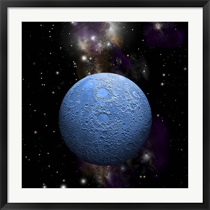 Framed Artist's depiction of a cratered moon in space with a Nebula in the background Print