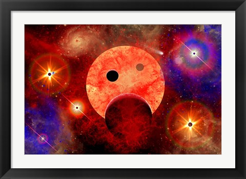 Framed New star formation in a vast Gaseous Nebula Print