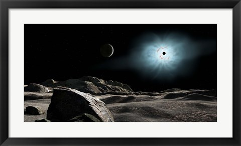 Framed bright star Rigel Eclipsed by a moon of a hypothetical planet Print