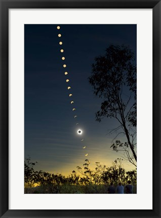 Framed Solar Eclipse composite, Queensland, Australia II Print