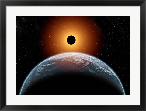 Framed total Eclipse of the Sun as seen from being in Earth's orbit Print