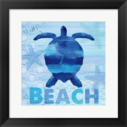 Framed Sea Glass Turtle Print