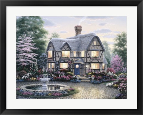 Framed Freeman Cottage Fountain Print
