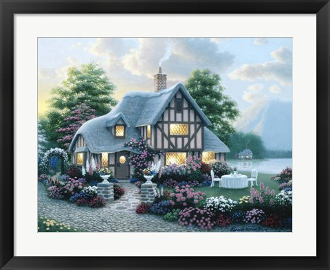Framed Lakeside Cottage Print