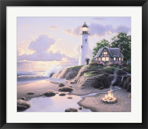 Framed Cottage By The Sea Print