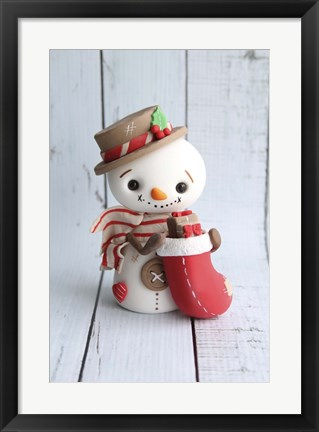 Framed Snowman and Stockings Print
