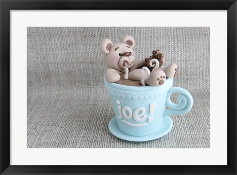 Framed Cup Of Joe Teddy Print