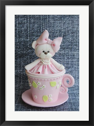 Framed Teddy In Cup Pink Print