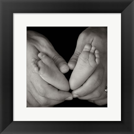 Framed Two Baby Feet And Hands Print