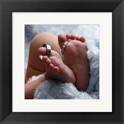 Framed Baby Toes And Rings In Color Print