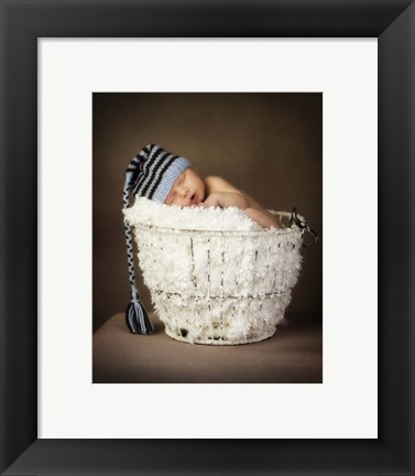 Framed Baby In Winter Hat Print