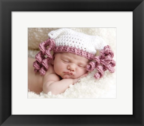 Framed Baby And Pink Swirls Print