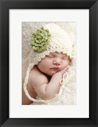 Framed Baby In White And Green Flower Print