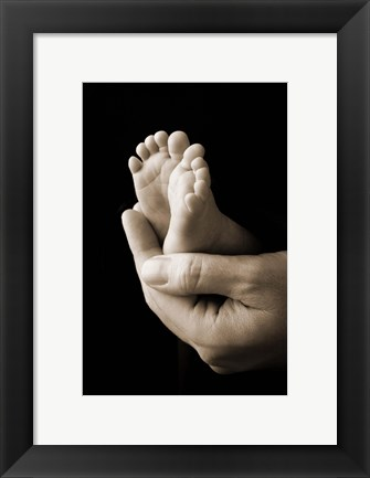 Framed Baby Foot In Hand Print