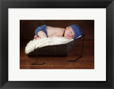 Framed Baby In Blue Hat I Print