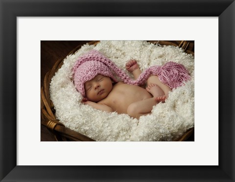 Framed Baby In Pink On White Print