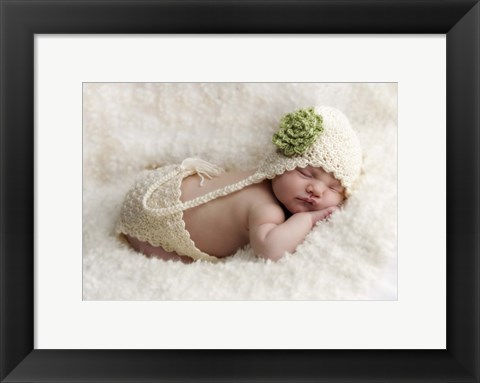 Framed Baby In Green And White Print
