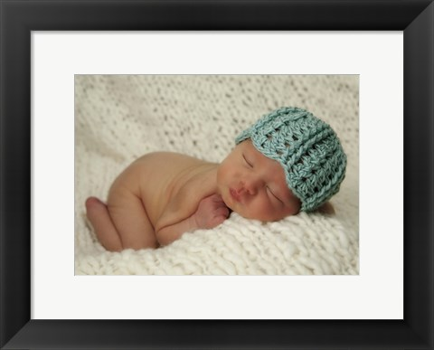 Framed Baby And Blue Cap Print
