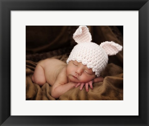 Framed Baby In Bunny Ears Print
