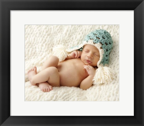 Framed Baby In Light Blue Cap Print