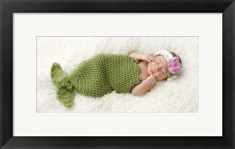 Framed Baby In Fish Tale Print
