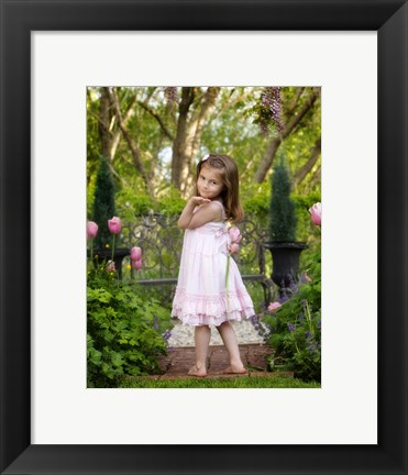 Framed Little Girl In White Dress Print