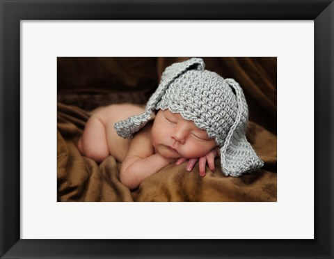 Framed Baby In Long Bunny Ears Print