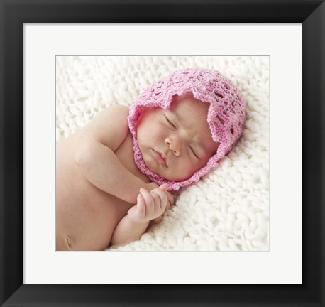 Framed Baby In Pink Bonnet Print