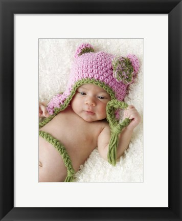 Framed Baby In Pink Hat Print