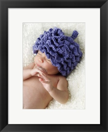 Framed Baby In Blue Hat II Print