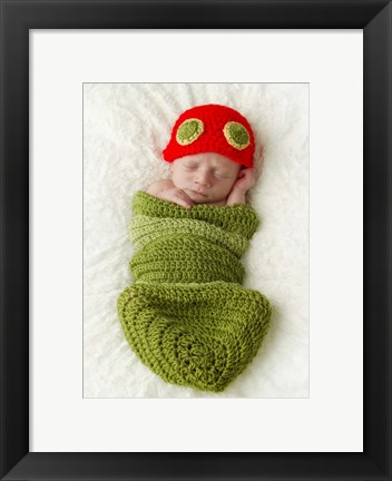 Framed Baby In Knit Worm Pod Print