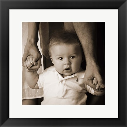 Framed Baby Holding Mom And Dad Hands Print