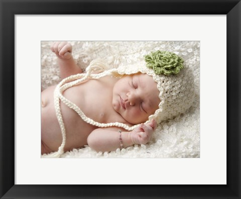 Framed Baby White Cap Green Flower Print