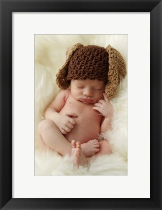 Framed Baby Brown Knit Ears Print