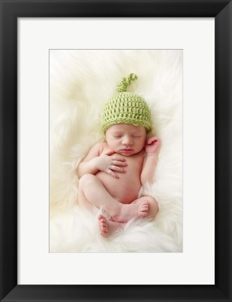 Framed Baby In Green Knit Cap Print