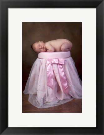 Framed Baby On Pink Sparkle Seat Print