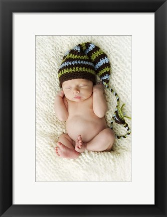 Framed Baby In Brown And Blue Print
