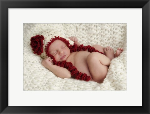 Framed Baby In Red And White Print