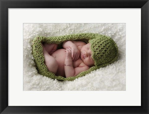 Framed Baby In Pea Green Knit Print