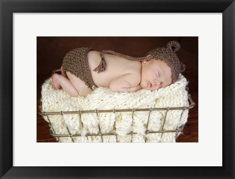 Framed Baby In Brown Knit Print