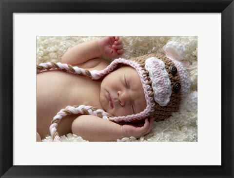 Framed Baby Knit Monkey Hat Print