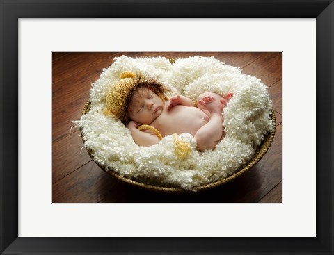 Framed Baby Knit Yellow Ears Print