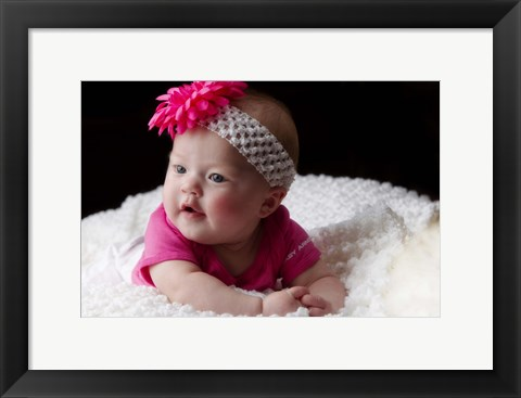 Framed Baby And Floral Headband Print