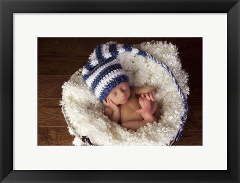 Framed Baby In Blue And White Print